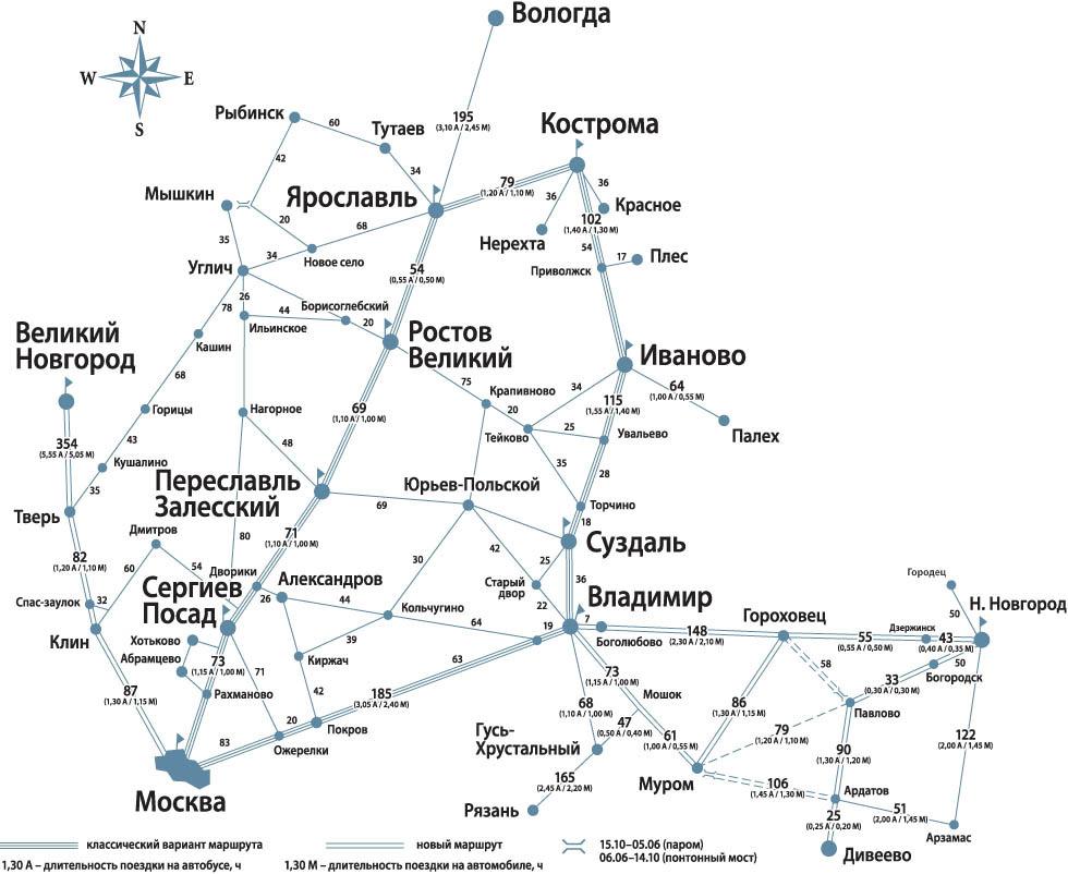 Схема маршрутов Золотого